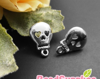 FN-ER-01034 - Nickel Free, Silver plated, Happy skull earwire, 4 pairs