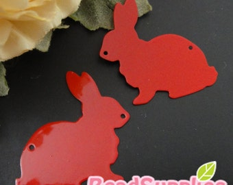 CH-ME-01903- Nickel Free, Rabbit silhouette computer-cut plate,red, 4 pcs