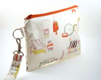 Zippered Wristlet-with Detachable Wrist Strap-Cats and Dogs Fabric