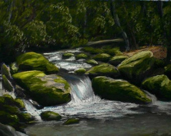 Roaring Forks Creek 9 x 12 inch Original Pastel Great Smoky Mountain National Park