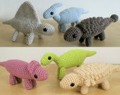 PDF Dinosaurs Sets 3 & 3X - six amigurumi CROCHET PATTERNS