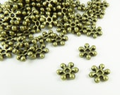 8mm Antique Brass Metal Daisy Spacers - Lead and Nickel Free - 50 Pieces - 0307OXBR