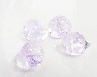 10mm Unicorne Tear Drop Lampwork Beads - Clear Purple- 4 Pieces - 21085