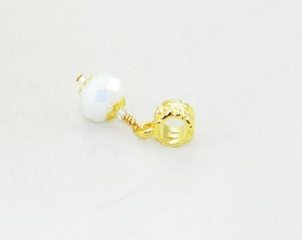 Handmade white AB faceted glass dangle charm bead for European bracelets and necklaces
