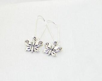 Silver butterfly charm dangle earrings, insect, garden, summer, jewelry