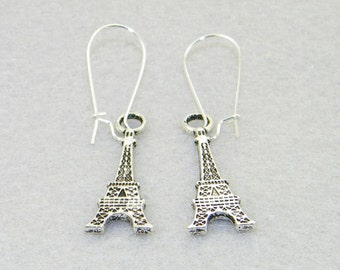 Silver flat eiffel tower charm dangle earrings,  Champ de Mars, Paris, France, Vacation, Holiday, jewelry