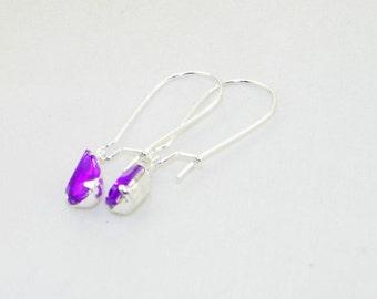 Purple rhinestone teardrop dangle earrings, Summer, Bride, Bridesmaid, Wedding, Mother's Day, jewelry