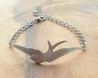 Swallow Bracelet Bird Swallow Bracelet Silver Swallow Bracelet Bird Bracelet