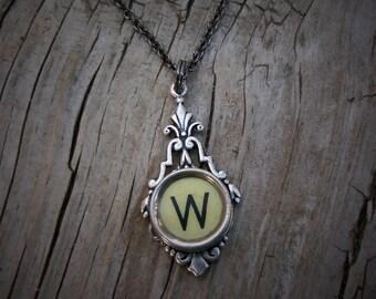 Typewriter Key  Necklace Vintage Initial W