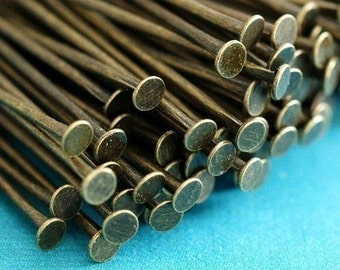 100pcs 2 inch Antique Bronze Headpins Findings 50mm