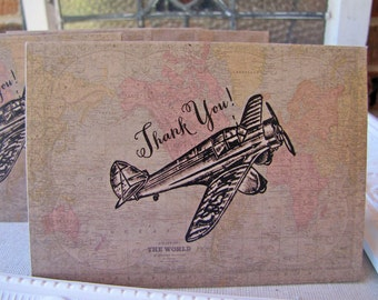 Vintage Travel Thank You Notes set of five