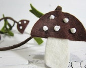Mushroom Lariat Necklace in Woodland Brown Wool Felt and Suede