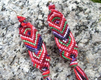 embroidery floss colorful hand knotted dangle earrings