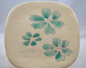 Square Ceramic Plate with Hand Painted Aqua Green Flowers Stoneware Clay Pottery