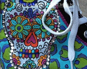 Painted Converse High Tops Animal Prints and Sugar Skulls Day of the Dead with BLING CHUCKS for women