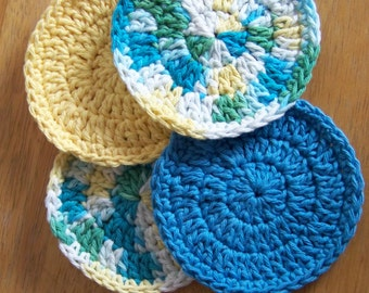 Crochet Coaster, Set of 4, blue, yellow, green