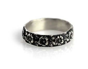 Wide floral ring - sterling silver ring