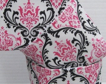 READY TO SHIP - Mini Fabric Storage Container Organizer Bins - Set of 3 - Dark Pink - Black - White Damask Fabric