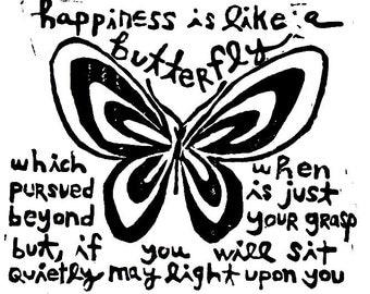 "happiness is like a butterfly linoleum block print - 9"" x 12"" wall art"