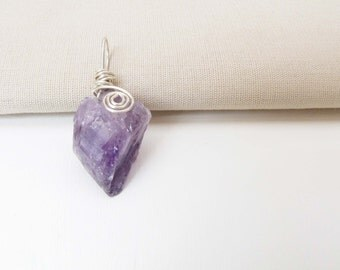 Amethyst Raw cut Sterling Silver Wire Wrapped Pendant Purple Amethyst Handmade Jewelry 2 # 54