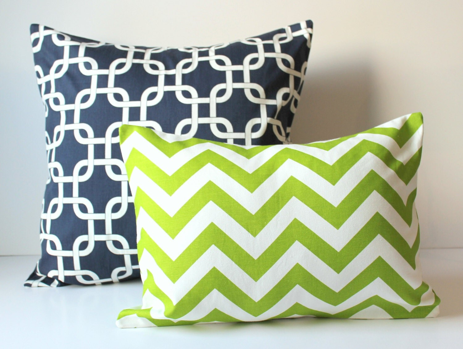 Navy Blue Decorative Bed Pillows: 2 Decorative Pillow Covers Navy Blue & Apple Green Cushion