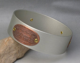 Mixed metals vintage brass and aluminum bangle bracelet - Permission to Enter