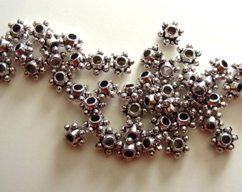 75 Silver metal BEADS spacers jewelry making supplies 4 x 5 mm Two Sisters Designs