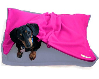 Eco Pet Bed - Recycled Sky Blue Pink Fleece