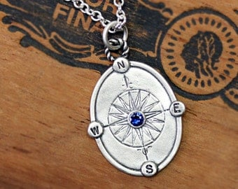 Sapphire compass necklace - blue sapphire - sterling silver - graduation gift - compass rose - oxidized - custom - engraved - Find your way