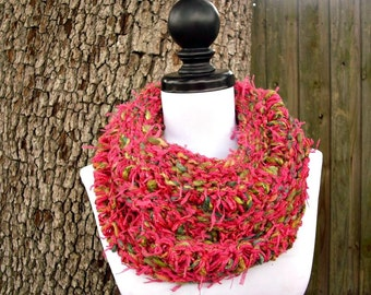 Womens Cowl Knit Cowl Chunky Scarf Snood - Drop Stitch Cowl in Azalea - Pink Cowl Green Cowl Womens Accessories - READY TO SHIP