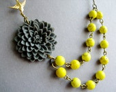 Statement Necklace,Grey Flower Necklace,Grey Floral Necklace,Flower Necklace,Grey Necklace,Yellow Necklace,Multi Strand,Bridesmaid Necklace