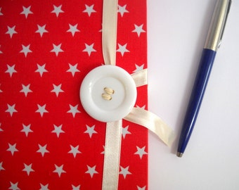 Red notebook, personal journal. red journal. stars journal. hand bound. lined paper, red white. red diary, writing journal, bound book.