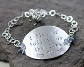 I Kiss My Bulldog On The Lips Bracelet- Sterling Silver,lavender blue mystic topaz,bulldog,charm