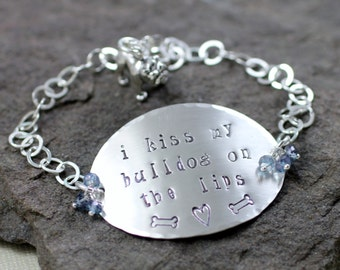 I Kiss My Bulldog On The Lips Bracelet- Sterling Silver,lavender blue mystic topaz,bulldog,charm