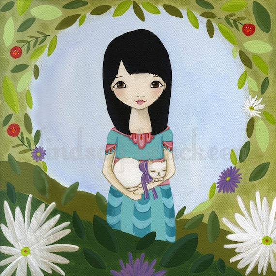 Secret Garden Asian Girl Cat Wall Art Print