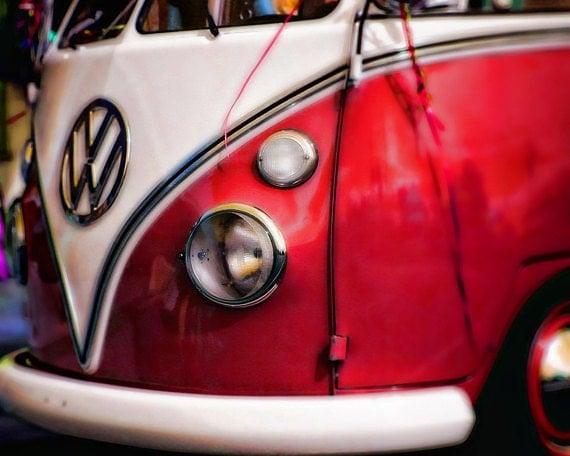 art for him mancave decor Printable Art Instant Download Vintage Red VW Volkswagon Bug Bus Print  Digital Download Commercial Use Graphics