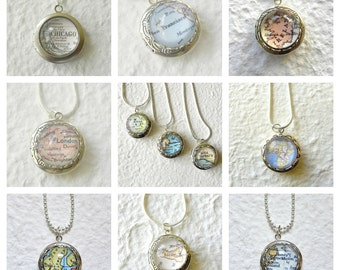 Custom Map Locket Necklace Petite - Choose your location, length, and locket style - Great for Mothers Day