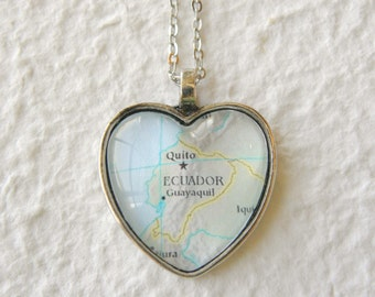 Ecuador Map Necklace - heart shaped - Also featuring Quito and Guayaquil