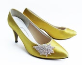 Sassy Canary Yellow Vegan Heels With White Pearl and Sequin Burst- Vintage 1980s- Size US 7.5 UK 5 EU 38.5