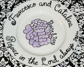 Custom Wedding Date, Flower, and Scripture Verse or Quote Plate Hand Painted Porcelain 10.5 inch dinner plate