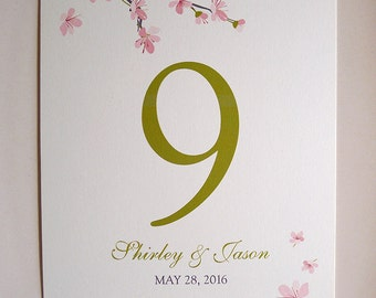 15 Cherry Blossoms Table Number Cards