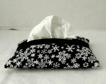 Snowflakes Pocket Tissue Holder - Black White Snowflake Tissue Cozy - Winter Tissue Case