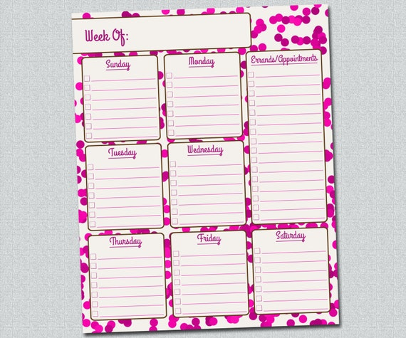 Items similar to Printable Weekly Planner Pink Confetti ...