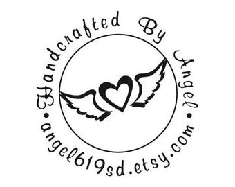 Custom Rubber Stamp, handcrafted By stamps heart with wings
