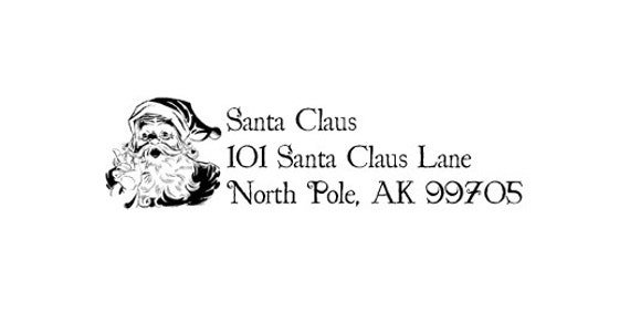 North Pole Santa's return address Rubber Stamp Santa Claus
