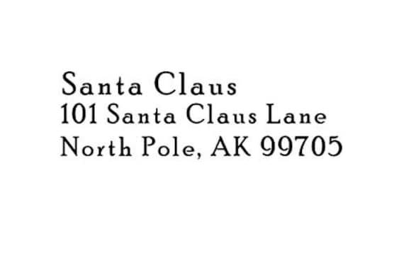 North Pole Santa's return address Rubber Stamp Santa Claus Christmas