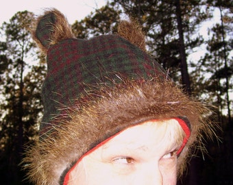 Plaid Wool Fur Hat Real Nutria Fur Cloche Ears Furry Geek Hat Upcycled Green Red Tartan Plaid Adult S M