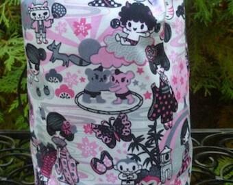 Pink kawaii Knitting project bag, WIP bag, drawstring bag, Suebee