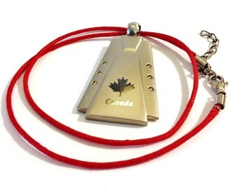 Etched Canadian  Maple Leaf Canada Day Necklace