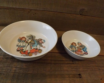 Raggedy Ann and Andy, Cereal Bowls, Vintage Cereal Bowls